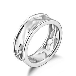 Bling Bling - Bling Bling Platinum Plated 925 Silver Hammered Couple Ring
