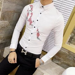 Besto - 花朵刺绣衬衫