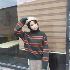 QZ Lady - High Neck Striped Thick Sweater
