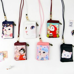 BABOSARANG - 'Choo Choo' Cat Series Coin Purse with Neck Strap