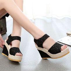 Shoeland - Lace Wedge Sandals
