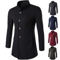 Constein - Plain Long Woolen Coat