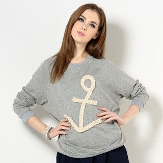YesStyle Z - Anchor-Appliqué Pullover