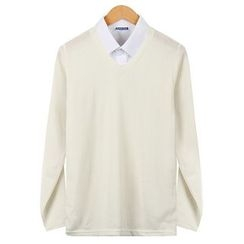 Seoul Homme - Colored V-Neck Knit Top
