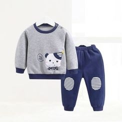 ciciibear - Kids Set: Cartoon Sweatshirt + Pants