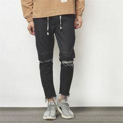 Mr.C studio - Ripped Straight-Cut Jeans