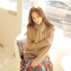 Cherryville - Drop-Shoulder Sweater with Scarf