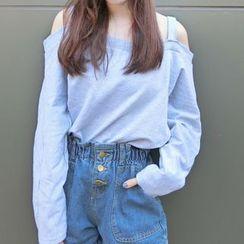 Miss Kekeli - Plain Off Shoulder Long Sleeve T-Shirt