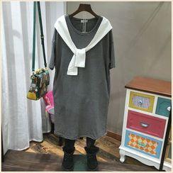 Wonder Shop - Inset Scarf Striped T-Shirt Dress