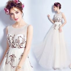 Angel Bridal - Sleeveless Embroidery Evening Dress