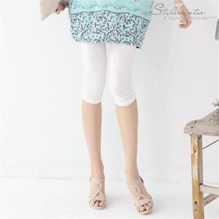 Stylementor - Elastic-Waist Shirred-Hem Cropped Leggings