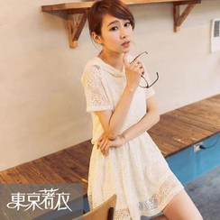 Tokyo Fashion - Short-Sleeve Hooded Lace Dress