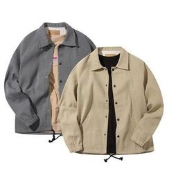 Seoul Homme - Raglan-Shoulder Snap-Button Jacket