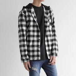 Seoul Homme - Check-Pattern Hoodie Shirt