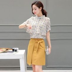 wisperia - Set: Floral Print Stand Collar Short Sleeve Shirt + Wrap Front A-Line Skirt