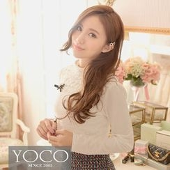 Tokyo Fashion - Long-Sleeve Mock Neck Lace Top