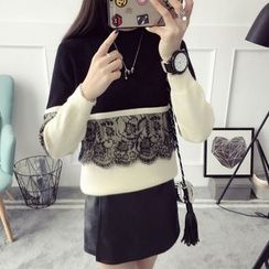 Qimi - Lace Panel Color Block Sweater