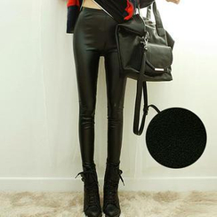 Dodostyle - Fleece-Lined Faux Leather Leggings