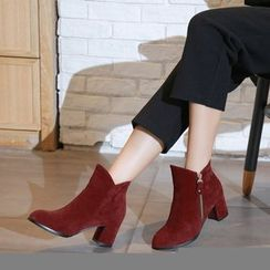 Pretty in Boots - Pointed Velvet Block Heel Short Boots