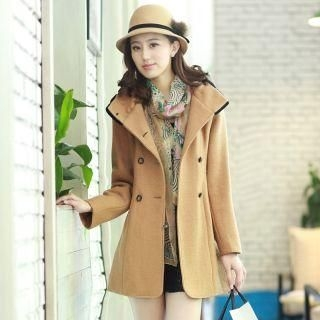 Mooiee - Double-Breasted Hooded Coat