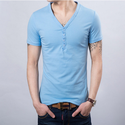 Consto - Plain V-neck Short-Sleeve T-shirt