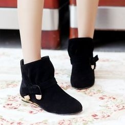 Pretty in Boots - Velvet Bow Short Boots