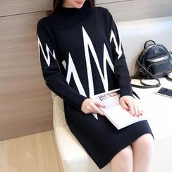 Ageha - 長袖塑身針織連衣裙