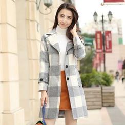 GETU - Plaid Button Coat