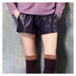 Raisin - Faux Leather Shorts