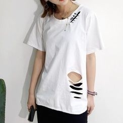 Tulander - Short-Sleeve Cut Out T-Shirt