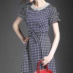 Alaroo - Faux Pearl Check A-Line Dress