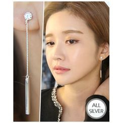 Miss21 Korea - Silver-Bar Drop Earrings