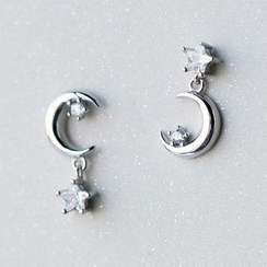 A'ROCH - 925 Sterling Silver Moon-and-Star Earrings