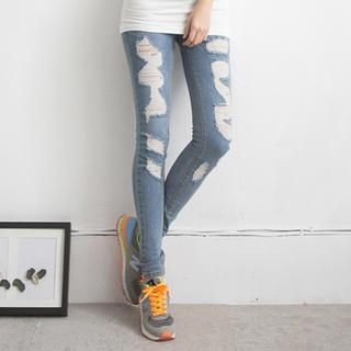 LULUS - Washed Distressed Skinny Jeans