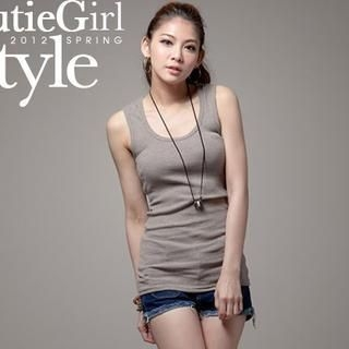 CUTIE FASHION - Hooded Ribbed Racerback Tank Top