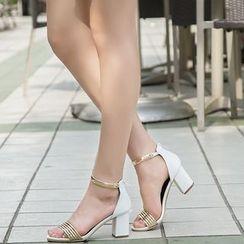 Monde - Ankle Strap Block Heel Sandals