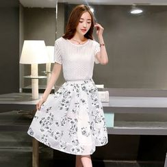 EFO - Set: Lace Top + Floral Skirt