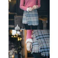 Chlo.D.Manon - Wrap-Front Check Mini Skirt