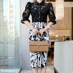 Aurora - Printed Pencil Skirt