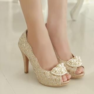 Babi n Pumkin - Beaded-Accent Open-Toe Platform Heels