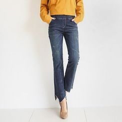 Seoul Fashion - Band-Waist Boot-Cut Jeans