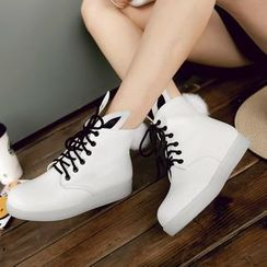 Shoes Galore - Rabbit Ear Lace-Up Short Boots