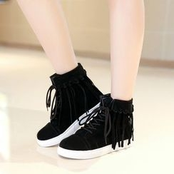 Shoes Galore - Fringed High-Top Sneakers