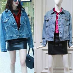 JOYIST - 套裝:牛仔布夾克 + 燈芯絨襯衫 + 仿皮裙