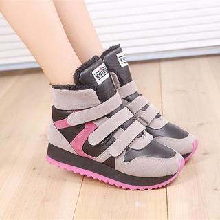 Solejoy - Fleece-Lined Velcro High-Top Sneakers