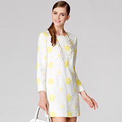 O.SA - Scalloped-Trim Floral Shift Dress