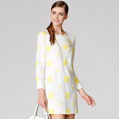 O.SA - Scalloped-Trim Floral Shift Dress