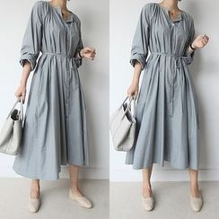 STYLEBYYAM - Loose-Fit A-Line Long Shirtdress