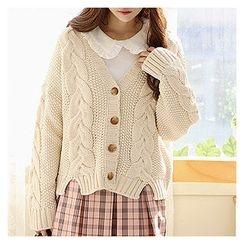 Sechuna - V-Neck Cable-Knit Cardigan