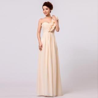 Annier - One-Shoulder Ruffle Shirred Chiffon Evening Dress